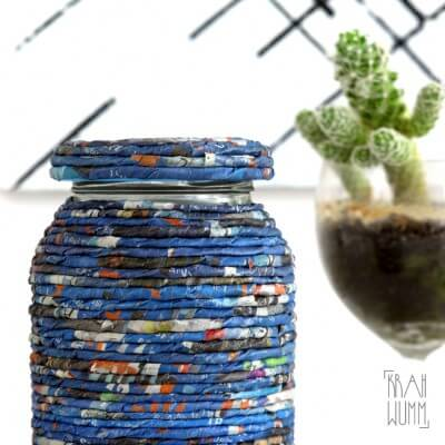 Paper Art Glas – umwickelt mit handmade Papierkordel