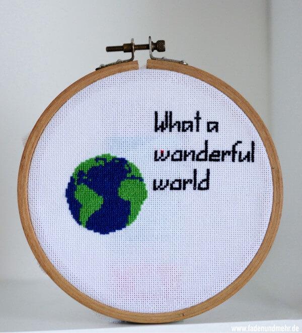 "Stickbild Globus: ""What a wonderful world"""