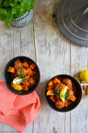 Kefta-Tajine mit Süßkartoffeln und Zitrone