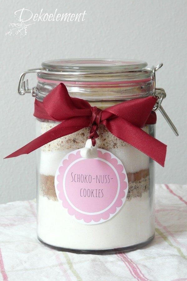 selbstgemachte Backmischung für Schoko-Nuss-Cookies