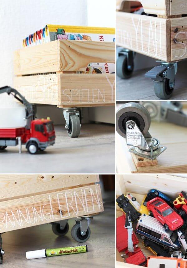 Spielzeugkiste auf rollen handmade kultur for Holzkiste kinderzimmer