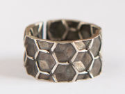 Silberring Honigwabe, Designer Ring oxidiert