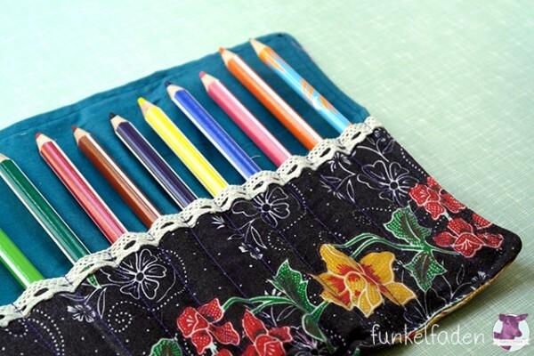Mäppchen für Stifte, Pinsel oder Häkelnadeln nähen