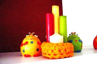 Kerzenständer aus Textilgarn