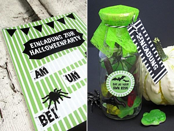 Einladung für deine Halloween-Party in der Flasche