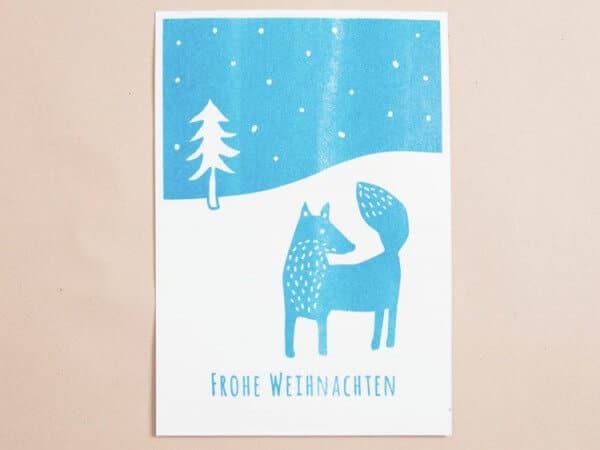 Tolle Weihnachtskarte mit Schablonendruck gestalten