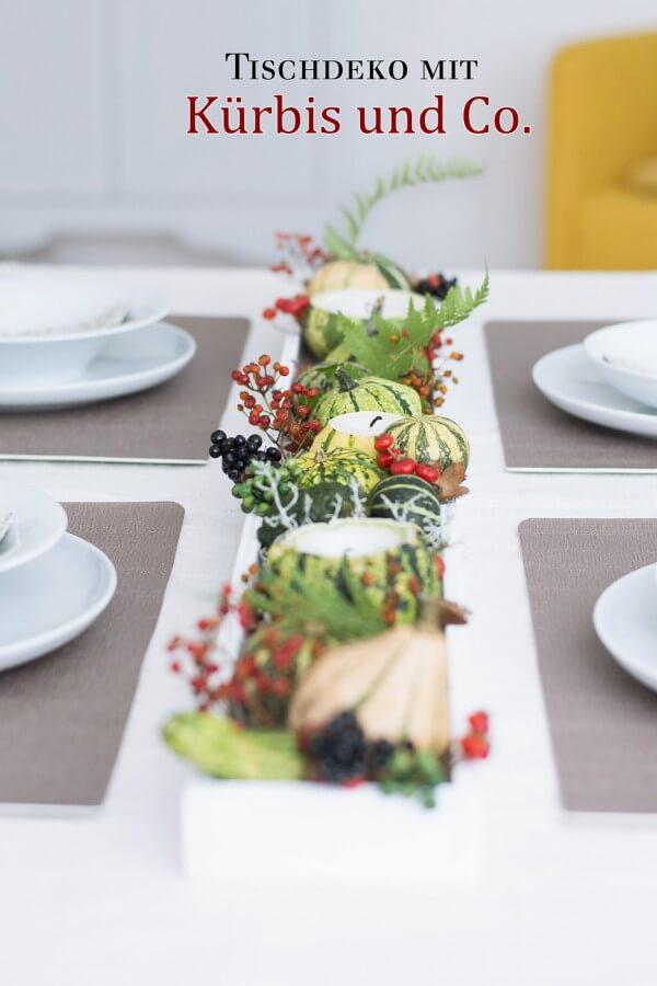 Herbstliches Tablett mit DIY Kürbis Kerzen