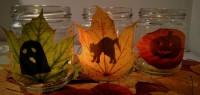 Teelichter mit Halloween-Schatten