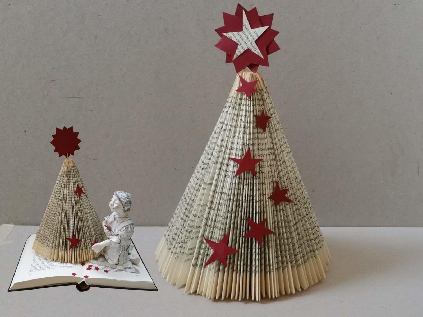 diy weihnachtsbaum aus buch falten handmade kultur. Black Bedroom Furniture Sets. Home Design Ideas