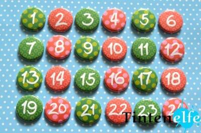 24 Adventskalenderzahlen als Buttons