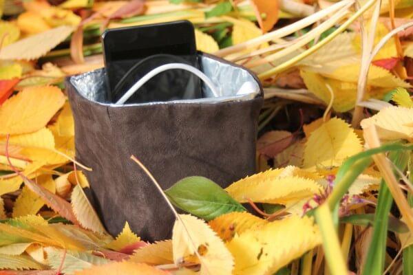 Utensilo aus Leder und Kaffeetüte