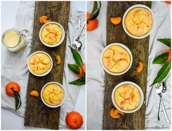 Mandarinen im Doppelpack: Quark-Grieß-Aufläufchen und Mandarinen-Lassi mit Kefir