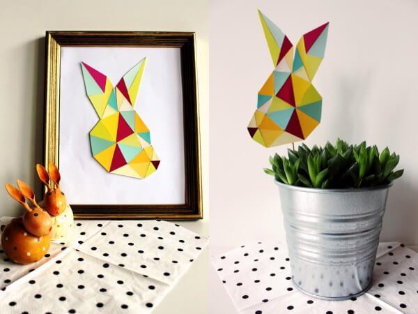 geometrischer Hase aus Farbkarten