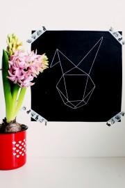 gestickter geometrischer Hase