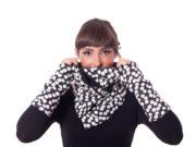Wickelschal schwarz weiß gepunktet, Cowl, Kragen, Schalkragen mit Punkten