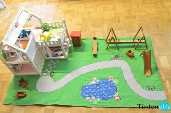 Puppenhaus verschönern und Spieldecke nähen