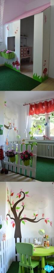 Kinderzimmer mit Haus, Garten und Elfen