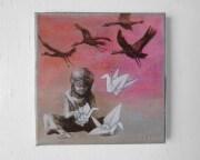 Malerei auf Leinwand: Papierkranich