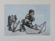 Papier-Schiff: Kunstdruck