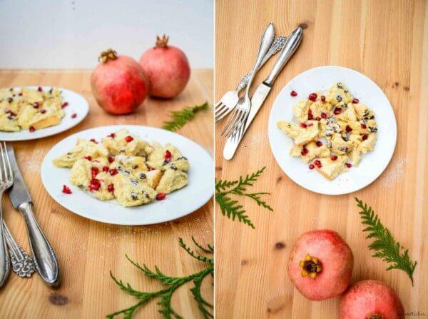 December Mornings: Kaiserschmarrn aus dem Ofen mit Rosinen und Granatapfelkernen