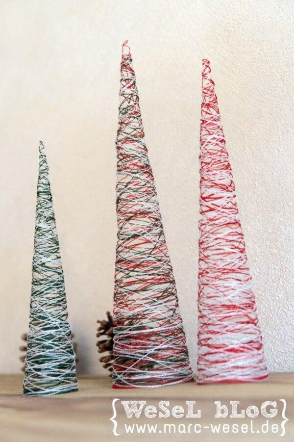 Garn Weihnachtsbäume – Diy Weihnachtsdeko - Handmade Kultur