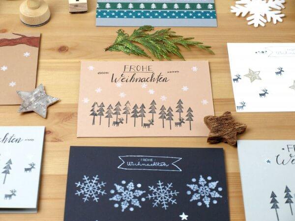Weihnachnachtskarten mit Stempeln gestalten