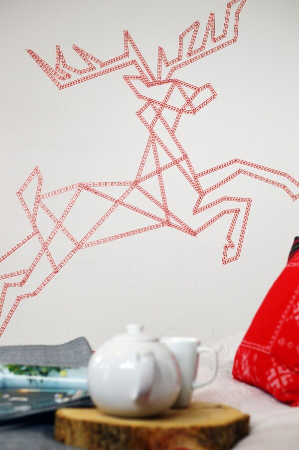 Washi Tape Rentier Wandbild + Vorlage