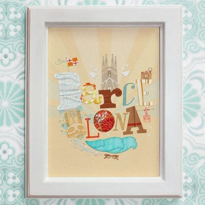 BARCELONA / Print auf Leinenpapier / A4