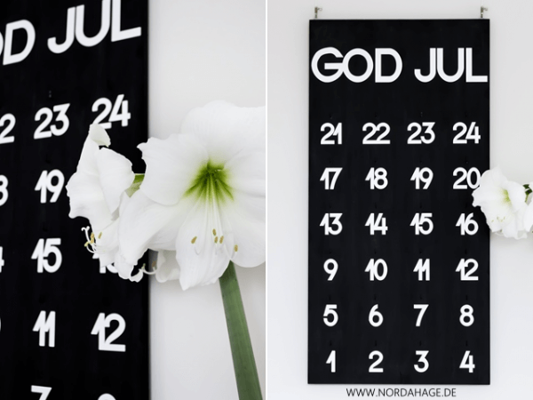 "DIY-Adventskalender Holzbrett ""God Jul"""