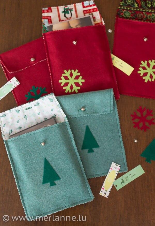 Filztaschen für Weihnachtsgeschenke