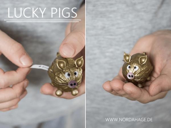 DIY // Goldige Glücksschweinchen mit Spruch statt Glückskeksen