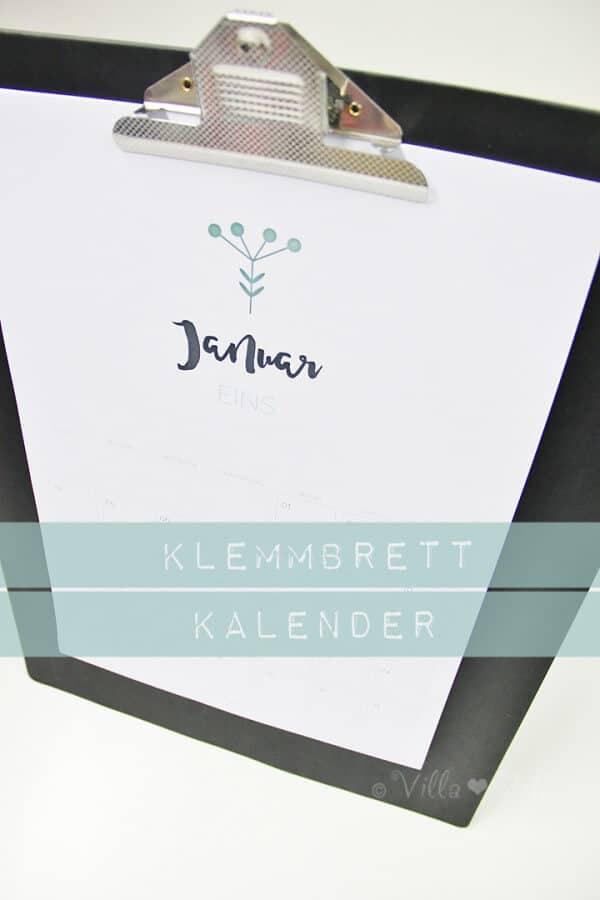 DIY Klemmbrett Kalender & kostenlose Kalender-Printables zum ausdrucken