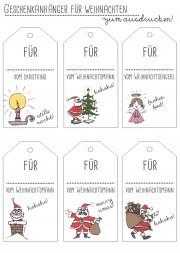 Freebie Geschenkanhänger für Weihnachten