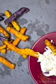 Oven baked sweet potato fries mit zwei selbstgemachten Dips