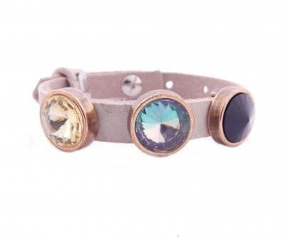 Cuoio Armband mit verschiedenen Rivoli Crystals, beige