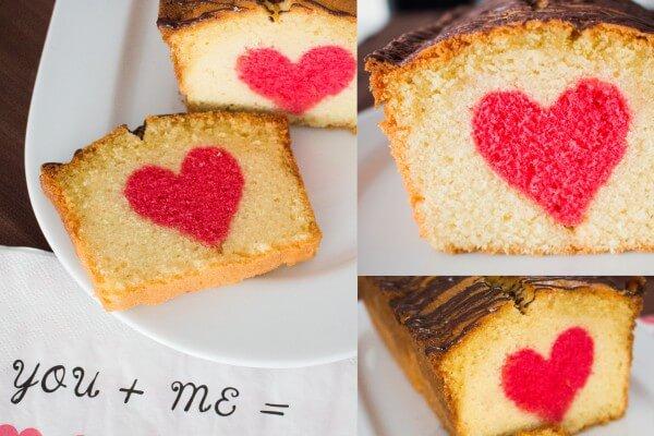 Valentinstagskuchen mit süßer Überraschung