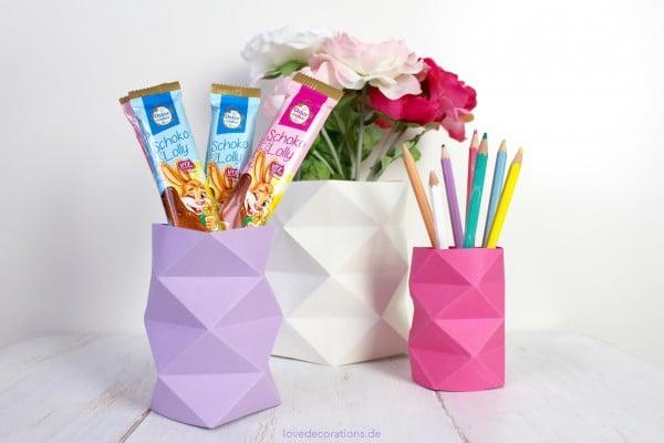 DIY Origami-Vasen mit Rautenmuster