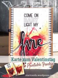 Karte zum Valentinstag - COME ON BABY LIGHT MY FIRE