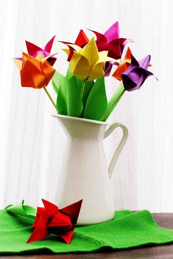 kunterbunte Origami Tulpen // Kreativ durch den Monat Challenge