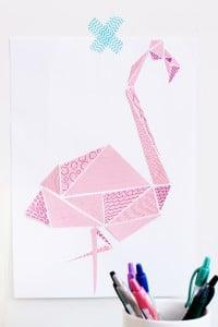 Geometrischer Flamingo mit Mustern