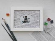 Unikat Kunstdruck Papier-Kranich, hand gemalt