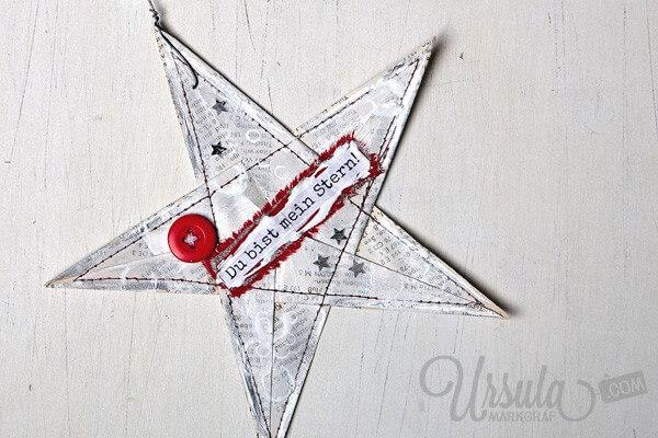 Gestalte einen mixed-media Stern-Anhänger aus einem Origami-Stern