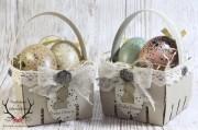 Schnelles Osterkörbchen mit Spitze und Häkelbordüre