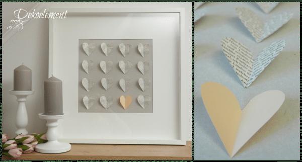 Basteln mit Buchseiten - ein Dekorahmen mit Herzen
