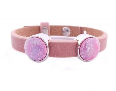 Cuoio Armband mit pinken Glitzer-Cabochons, rosa