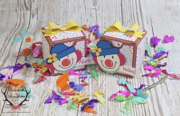Mini-Geschenkschachtel für Karneval / Fasching oder Kindergeburtstag