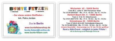"""""""Bunte Fetzen""""® - Die Nähschule - Der etwas andere Stoffladen - 3 x in Berlin !"""