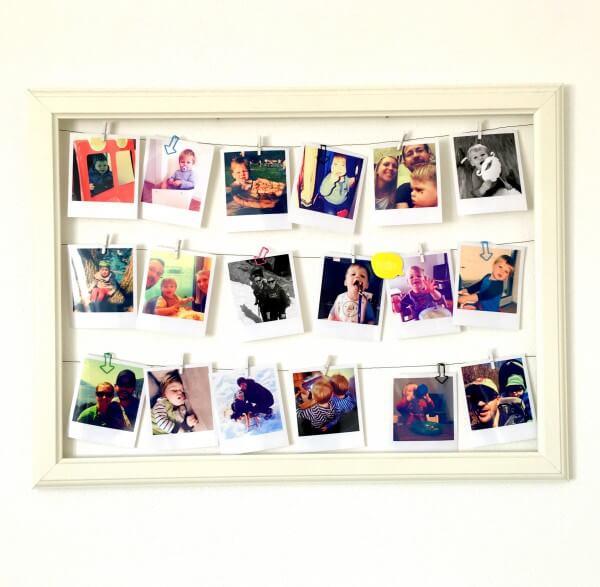 Bilderrahmen / Memoboard mit Polaroids