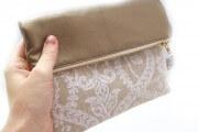 Foldover-Clutch / Brauttasche gold und gemustert