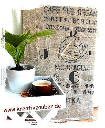 Kaffeesack Uhr selber basteln